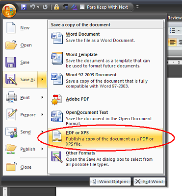 Convert document to pdf