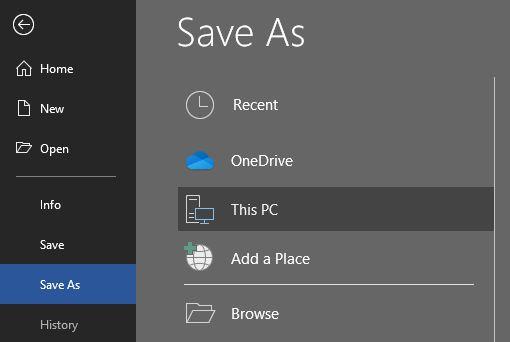 Save As option displaying on the File menu