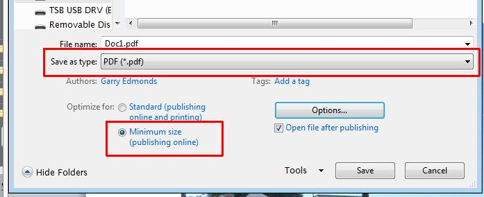 options for save as PDF