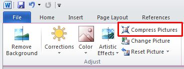 Word 2010 Compress Pictures option