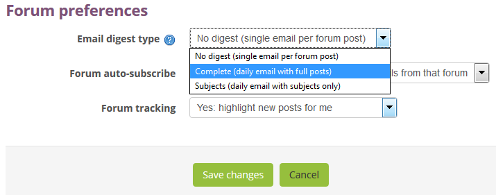 Forum preferences, select daily digest full text