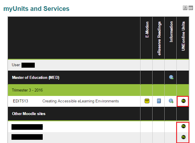 The myUnits and Services table in myUNE