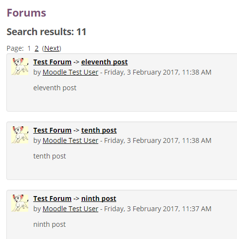 Forums advanced search resulte