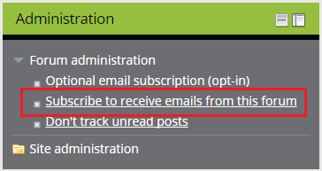 The Subscribe to receive email link in the Admin block