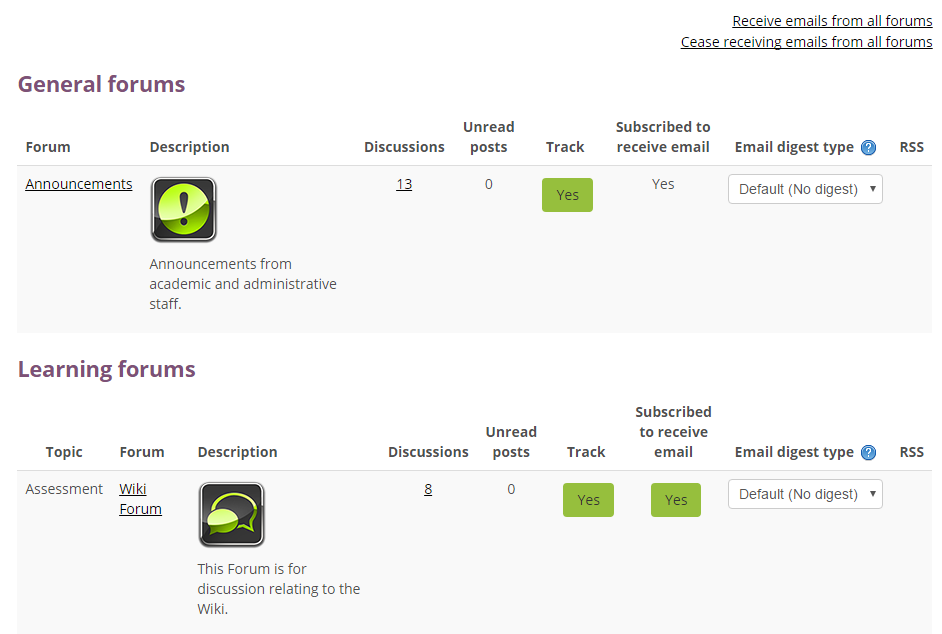 A view of the Forum Summary page showing tracking settings