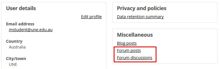 A dashboard page showing links to forum reports