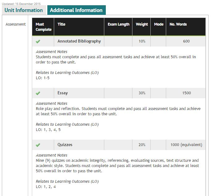 Sample image of the Additional Information tab in the Course and Unit Catalogue
