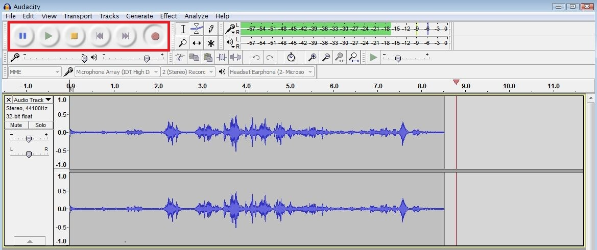 Recording in audacity