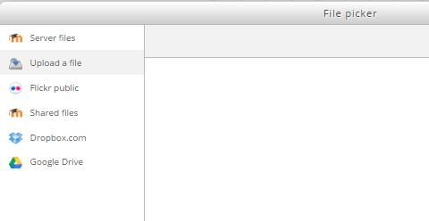 View of the Dropbox link in the file picker