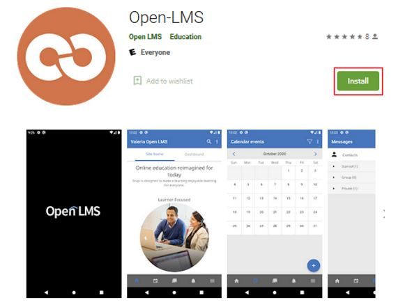OPEN LMS Android download page with install icon highlighted