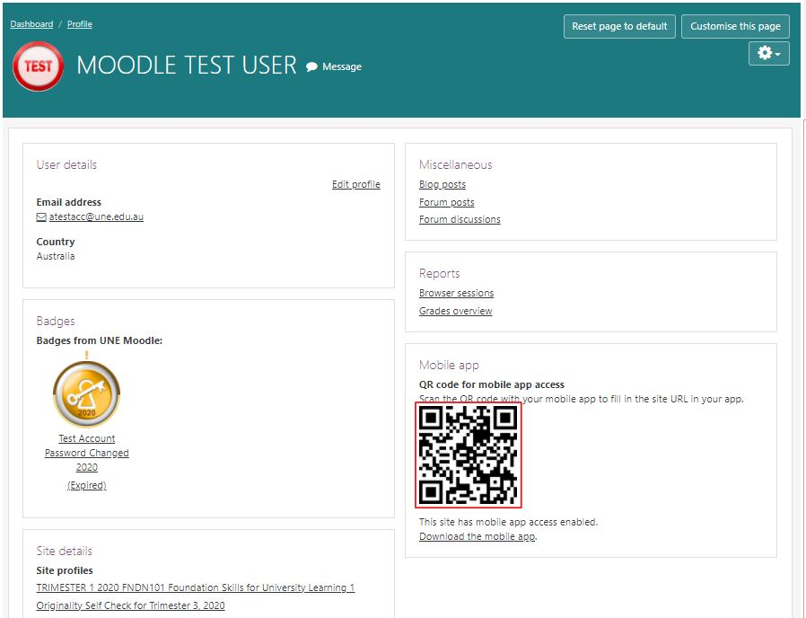 Image of QR code highlighted on users profile page