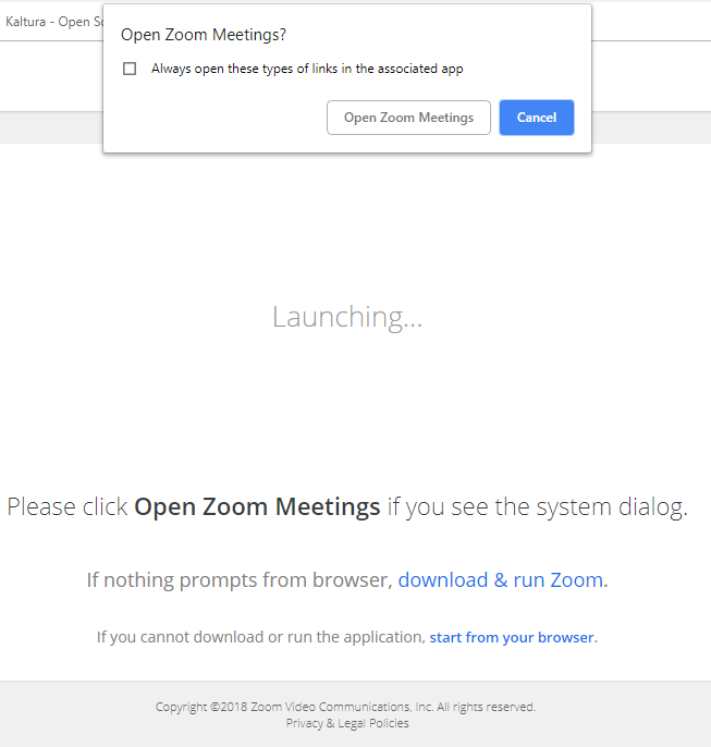 Picture of page showing Open Zoom Meeting