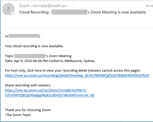 Zoom Recording Email